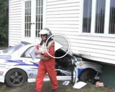 Piloto Destrói Casa Com o Carro Durante Rally e Sai Como Se Nada Tivesse Acontecido 4