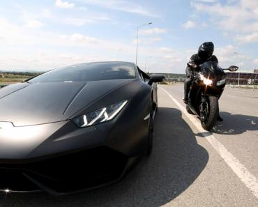 Lamborghini Huracan e CBR 1000RR Fazem Corrida Louca No Meio Do Trânsito 2