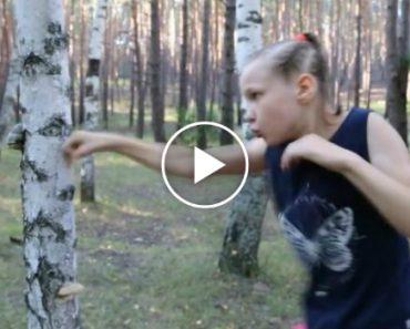Menina De 9 Anos Destrói Tronco De Uma Árvore... a Murro!!! 9
