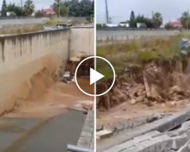 Sólido Muro Desfaz-se Em Pedaços Devido à Pressão Da Água Durante Inundações 7