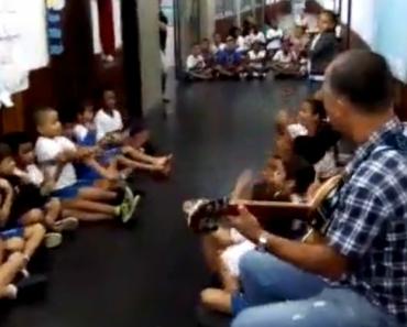 Professor Toca Musica Para Acalmar Crianças Durante Um Tiroteio No Brasil 7