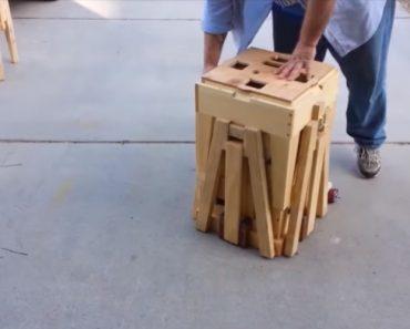 O Pequeno Caixote De Madeira Que Se Transforma Numa Mesa e 4 Cadeiras De Forma Genial 7