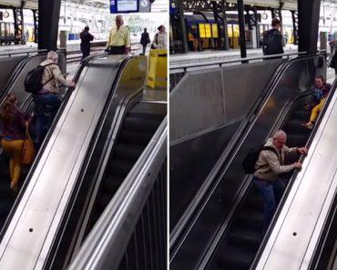 A Batalha Épica De Duas Pessoas Contra Umas Escadas Rolantes 4