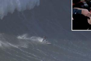Surfista Andrew Cotton Lesiona As Costas Numa Queda Impressionante Nas Ondas Gigantes Da Nazaré 10