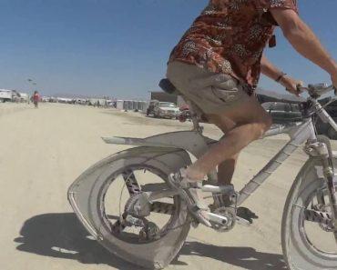 Homem Constrói Funcional Bicicleta Com Rodas Triangulares 6
