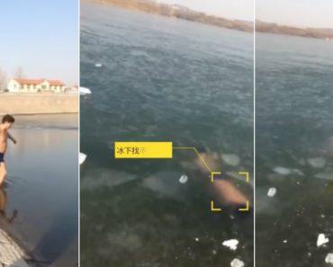 Homem Mergulha Mas Ao Tentar Sair Da Água Encontra a Superfície Congelada 7