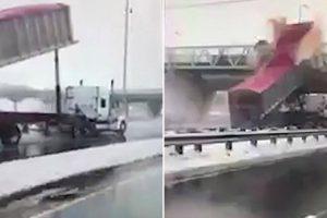 Camião Com Reboque Levantado Provoca Estragos Após Embater a Grande Velocidade Contra Ponte 10