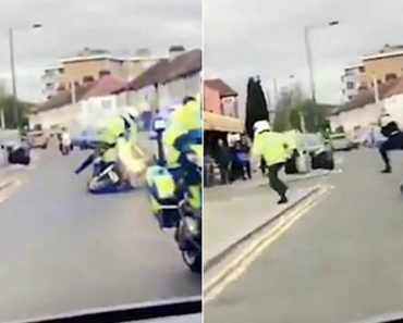Homem Empurra Polícia Que Seguia Em Motociclo Sem Qualquer Razão 5