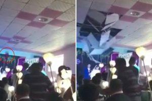 Noiva Provoca Desabamento Do Teto Após Lançar Bouquet 9