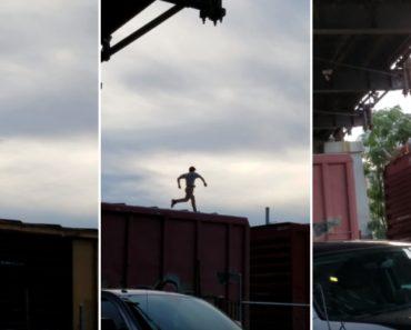 Homem Corre Sobre Comboio Em Andamento e Quase Acaba Mal 3