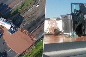 Camião Despista-se e Transforma Estrada Num Autêntico Mar De Chocolate 10