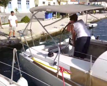 Mulher Desastrosamente Tenta Atracar Barco Pela Primeira Vez 1