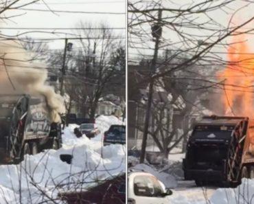 Camião Do lixo Pega Fogo e Explode Em Frente De Habitações 6
