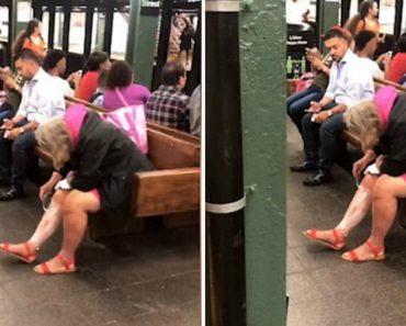 Mulher Aproveita Tempo De Espera Na Estação De Metro Para Depilar As Pernas 4