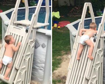 Bebé Sobe Escada De Piscina Desenhada Para Ser Impossível De Escalar Por Crianças 7