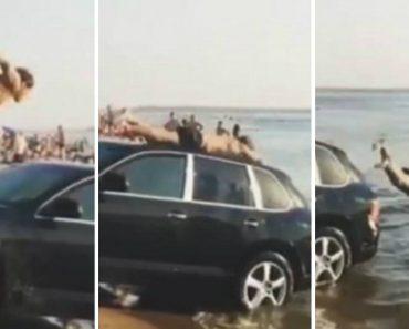 Russos Usam Porsche Para Mergulhar No Mar! 5
