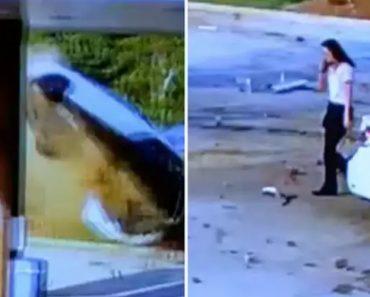 """Condutora Sai """"Tranquilamente"""" Do Carro Após Sofrer Violento Despiste Contra Bomba De Gasolina a 160 Km/H 8"""