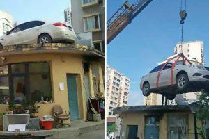 Segurança Dá Lição a Condutora Ao Contratar Grua Que Colocou Carro Mal Estacionado No Topo De Edifício 8