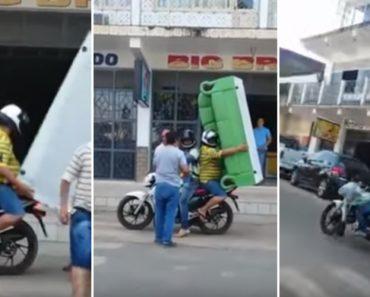 Para Não Gastar Dinheiro Em Transportadora, Homem Arrisca Levar Sofá Numa Motorizada 6
