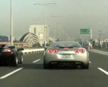 Lamborghini Desafia Corvette Para Corrida Numa Autoestrada No Dubai 1