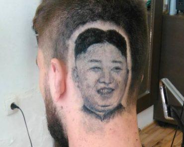 """Barbeiro Realiza Desejo Ao """"Desenhar"""" Retrato De Kim Jong-Un Na Cabeça De Cliente 3"""