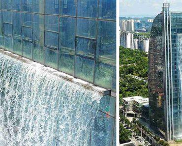 Arranha-Céus Com Cascata De 108 Metros é Atração Na China 4