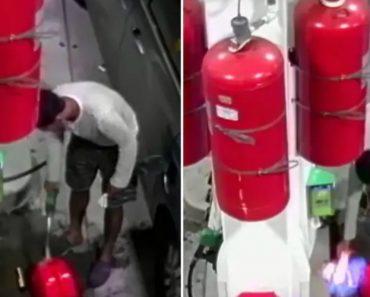 Homem Pega Fogo a Bomba De Gasolina 4