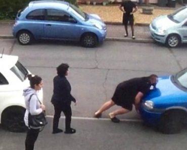 Homem Empurra Carro Que Estava a Bloquear Entrada De Habitação 4