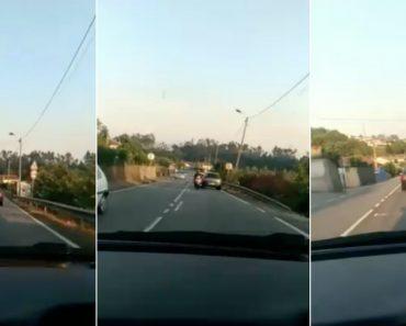 Motociclista Atira Capacete Contra Carro Em Andamento Em Braga 4