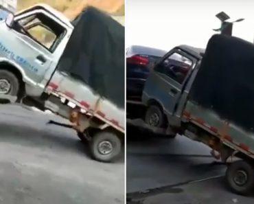 Camião Sofre Cómica Avaria Que Não Passou Despercebida a Quem Estava No Local 3