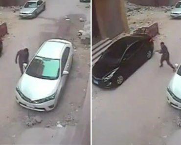 Dose De Karma Instantâneo Para Assaltante Ao Atirar Pedra Contra Carro Que Queria Assaltar 3