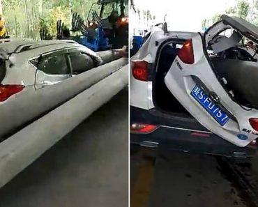Automobilista Engana a Morte Após Poste De Cimento Perfurar Carro De Um Lado Ao Outro 5