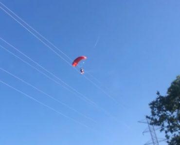 Paraquedista Embate Contra Cabos De Eletricidade e Cai Em Queda Livre 1