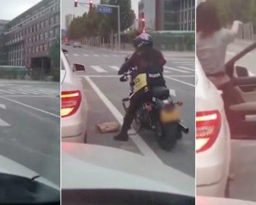 Motociclista Dá Lição a Condutora Que Resolveu Atirar Lixo Pela Janela 2
