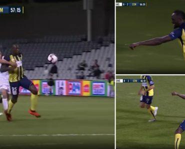 Usain Bolt Estreou-se a Marcar Como Futebolista Profissional e Fê-lo Em Dose Dupla 4