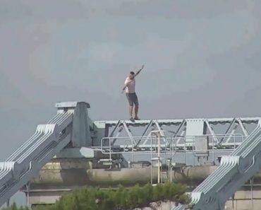 Bêbado Escala Ponte Com 50 Metros e Testa o Seu Equilíbrio No Topo Da Estrutura 2