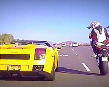 Motociclista Desafia Condutor Com Um Lamborghini Gallardo Spyder Para Corrida 1