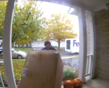 Imagens De Vigilância Mostram Com Estafeta Da Fedex Entregou Uma Sanita 8