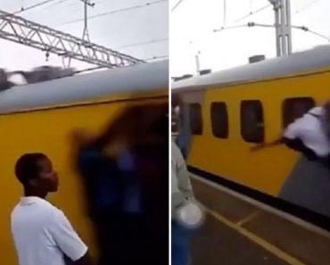 Jovem Leva Bofetada De Passageiro Após Aproximar-se Demasiado De Comboio Em Andamento 3