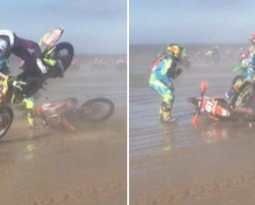 Piloto Quase Consegue Atravessar Pista Com Moto Avariada Sem Perturbar Os Outros Participantes 1