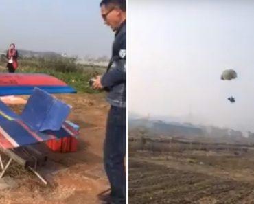 Galinha Aterra De Paraquedas Após Saltar De Avião 6