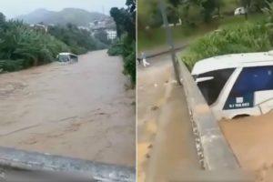 Autocarro Arrastado Pelo Rio, Embate Em Ponte e Volta-se Ao Contrário 10