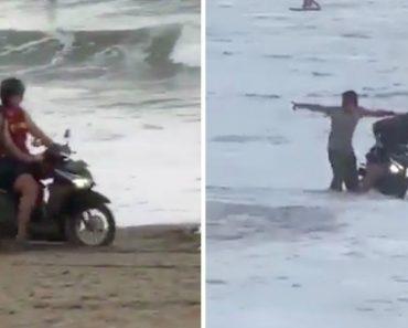Turistas Com Scooters Invadem Praia Em Bali e Banhistas Locais Empurram-nos Para o Mar 7