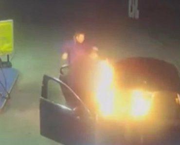 Pediram Para Parar Em Bomba De Gasolina e Incendiaram Táxi 4