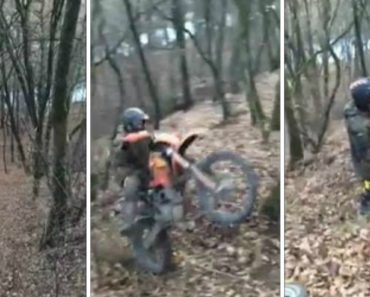 Homem Acidentalmente Faz o Estacionamento Perfeito Durante Percurso De Motocross 9