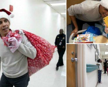 Com Gorro De Pai Natal, Barack Obama Entrega Presentes Em Hospital Infantil 4