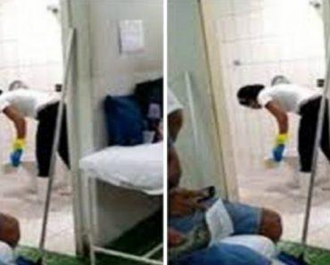 Funcionária De Hospital Filmada a Lavar WC Com a Agua Da Sanita 5