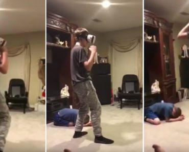 Amigo Aprende De Forma Dolorosa o Que Não Fazer Quando Alguém Está a Jogar Em Realidade Virtual 5