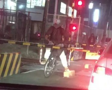 Ciclista Espera Pela Passagem Do Comboio No Lado Errado Da Cancela 3