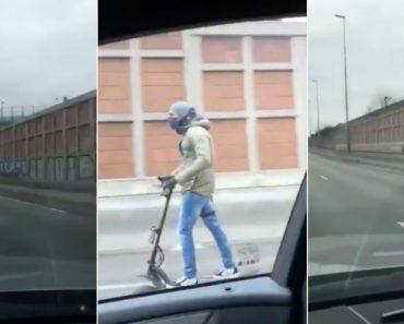 Homem Filmado a Andar De Trotinete a 85 km/h Numa Autoestrada Em França 9